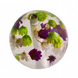 Bola Resina Transparente Flores Roxo Verde Off White