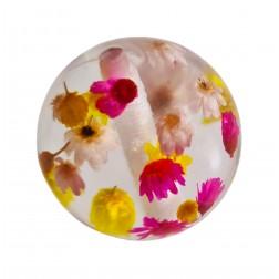 Bola Resina Transparente Flores Rosa Amarelo Off White