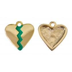 Pingente Coração Partido Verde