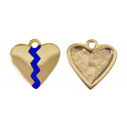 Pingente Coração Partido Azul