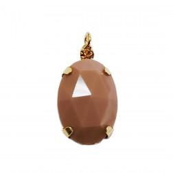 Pingente Pedra Resina - Com Strass - 13X24 MM - Nude