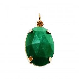 Pingente Pedra Resina - Com Strass - 13X24 MM - Esmeralda