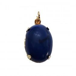 Pingente Pedra Resina - Com Strass - 13X24 MM - Azul Marmorizado