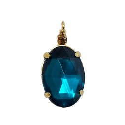 Pingente Pedra Resina - Com Strass - 13X24 MM - Blue Zircon