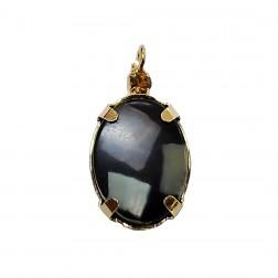 Pingente Pedra Resina - Com Strass - 13X24 MM - Com Caco Madrepérola