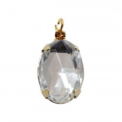Pingente Pedra Resina - Com Strass - 13X24 MM - Cristal