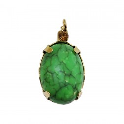 Pingente Pedra Resina - Com Strass - 13X24 MM - Verde Marmorizado