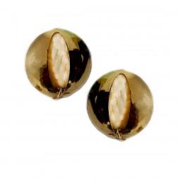 Brinco Furo Oval - Banho Dourado 25X30 MM - (PAR)