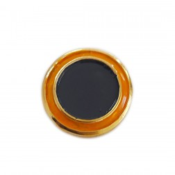 Botão Redondo - Banho Dourado - Esmaltado - Cinza/Amarelo - 20X20 mm