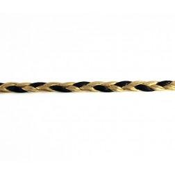 COURO TRANÇADO  Preto e dourado - 6 mm - metro