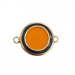 Alongador Redondo - Banho Dourado - Esmaltado - Cinza/Amarelo - 20X20 mm