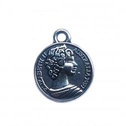Medalha Elizabeth II - Banho Níquel - (UNID)
