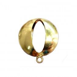 Pingente Furo Oval - Banho Dourado 25X30 MM - (UNID)