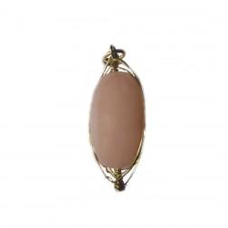 Pingente Oval Quartzo Rosa com Cabelo de Anjo  (UNID)